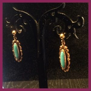 Vtg Copper & Turquoise Studs